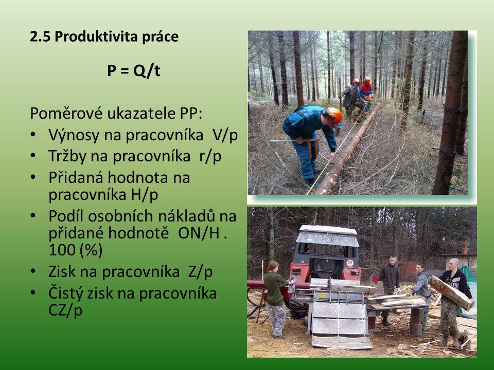 2.5 Produktivita práce P = Q/t Poměrové ukazatele PP: Výnosy na pracovníka V/p Tržby na pracovníka r/p Přidaná hodnota na pracovníka H/p Podíl osobních nákladů na přidané hodnotě ON/H.