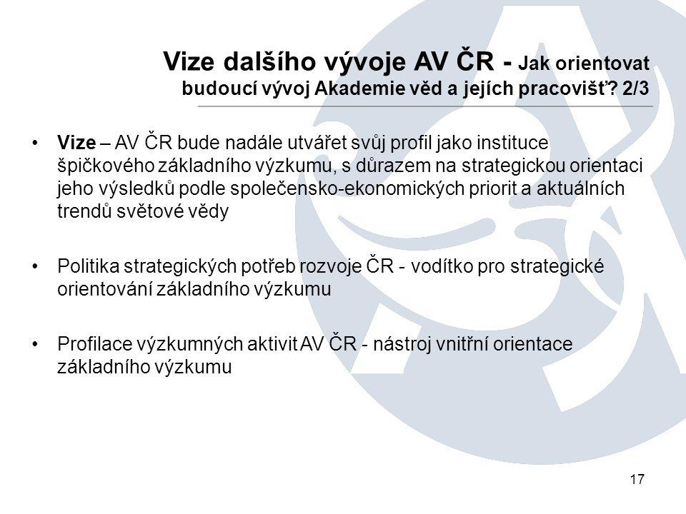 17 Vize dalšího vývoje AV ČR - Jak orientovat budoucí vývoj Akademie věd a jejích pracovišť.