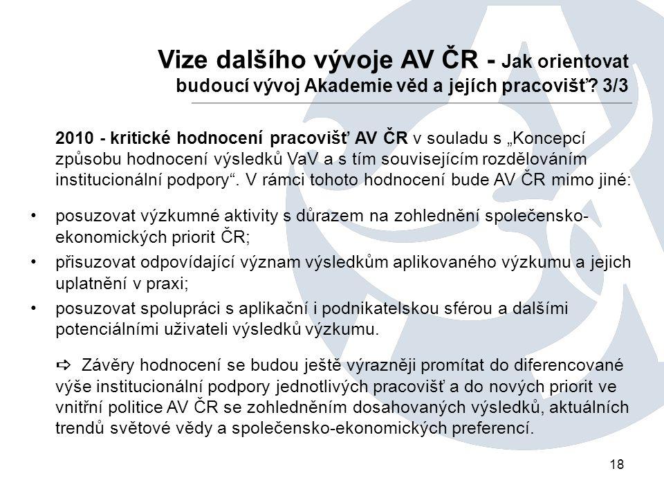 18 Vize dalšího vývoje AV ČR - Jak orientovat budoucí vývoj Akademie věd a jejích pracovišť.