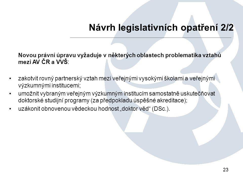 """23 Návrh legislativních opatření 2/2 Novou právní úpravu vyžaduje v některých oblastech problematika vztahů mezi AV ČR a VVŠ: zakotvit rovný partnerský vztah mezi veřejnými vysokými školami a veřejnými výzkumnými institucemi; umožnit vybraným veřejným výzkumným institucím samostatně uskutečňovat doktorské studijní programy (za předpokladu úspěšné akreditace); uzákonit obnovenou vědeckou hodnost """"doktor věd (DSc.)."""