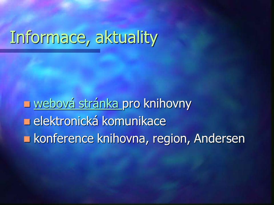 Informace, aktuality webová stránka pro knihovny webová stránka pro knihovny webová stránka webová stránka elektronická komunikace elektronická komunikace konference knihovna, region, Andersen konference knihovna, region, Andersen