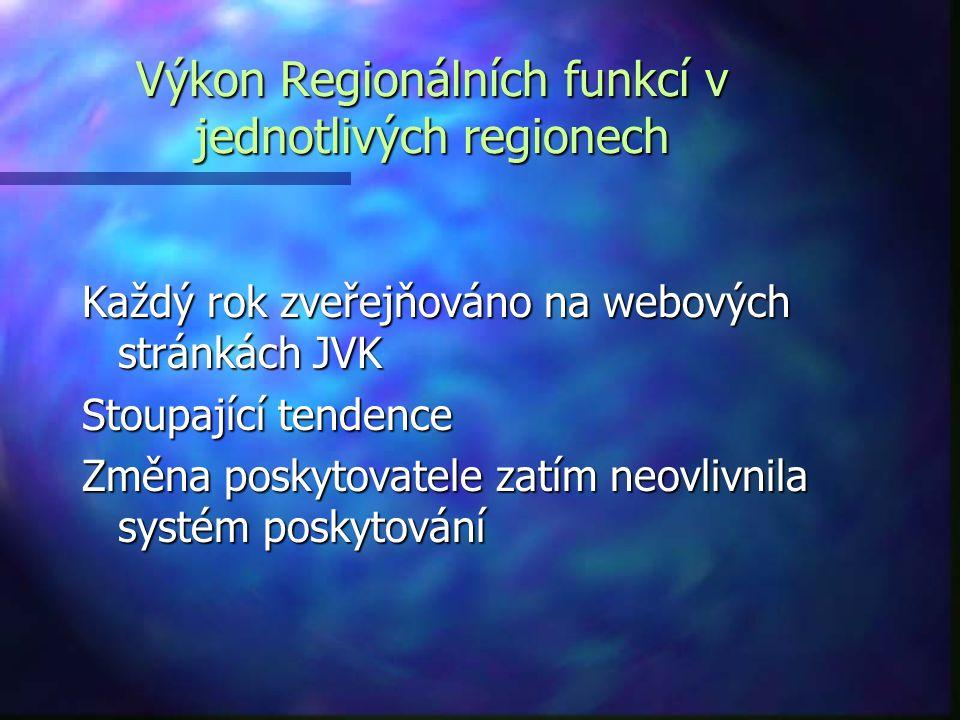 Výkon Regionálních funkcí v jednotlivých regionech Každý rok zveřejňováno na webových stránkách JVK Stoupající tendence Změna poskytovatele zatím neovlivnila systém poskytování