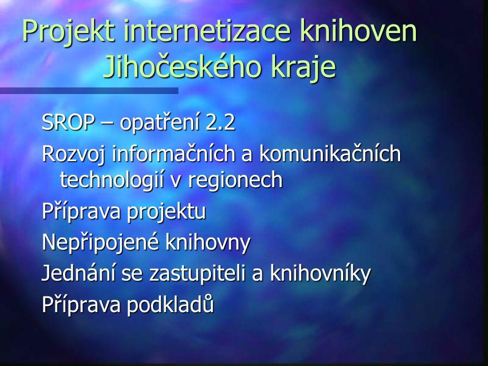 Projekt internetizace knihoven Jihočeského kraje SROP – opatření 2.2 Rozvoj informačních a komunikačních technologií v regionech Příprava projektu Nepřipojené knihovny Jednání se zastupiteli a knihovníky Příprava podkladů
