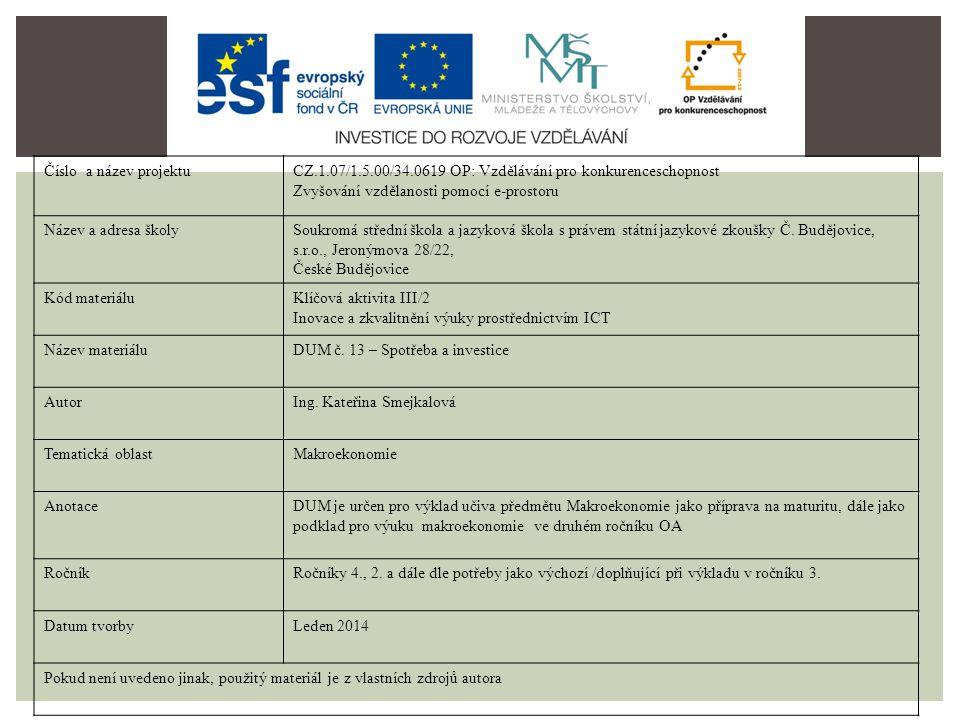 C, S S = -Sa + sYD C = YD C = Ca + cYD A = B = úspory A B Ca -Sa 0 YD http://www.ucitelka.info/ekonomie/makroekonomiehttp://www.ucitelka.info/ekonomie/makroekonomie, 8.1.2014