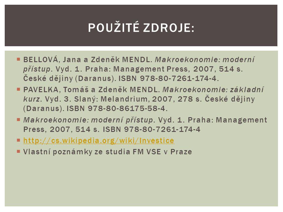  BELLOVÁ, Jana a Zdeněk MENDL.Makroekonomie: moderní přístup.