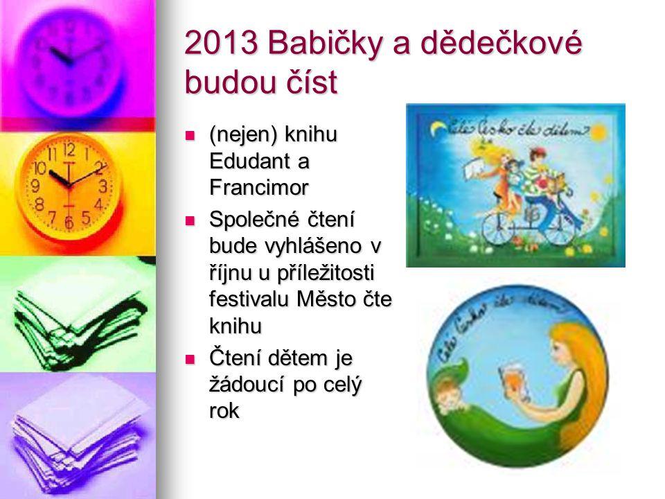 2013 Babičky a dědečkové budou číst (nejen) knihu Edudant a Francimor (nejen) knihu Edudant a Francimor Společné čtení bude vyhlášeno v říjnu u přílež