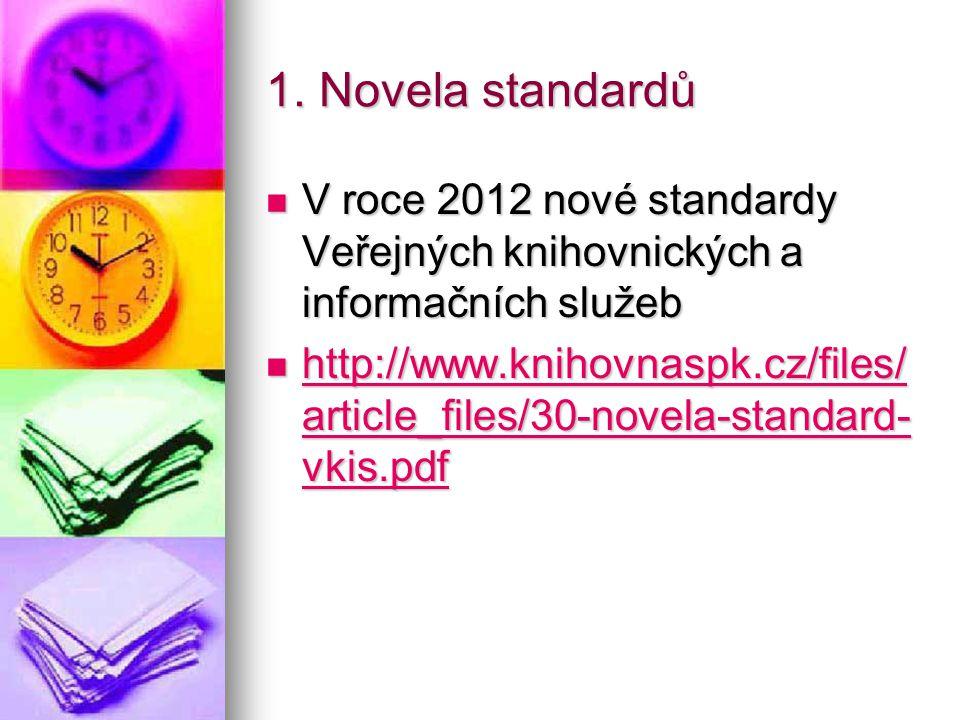 1. Novela standardů V roce 2012 nové standardy Veřejných knihovnických a informačních služeb V roce 2012 nové standardy Veřejných knihovnických a info