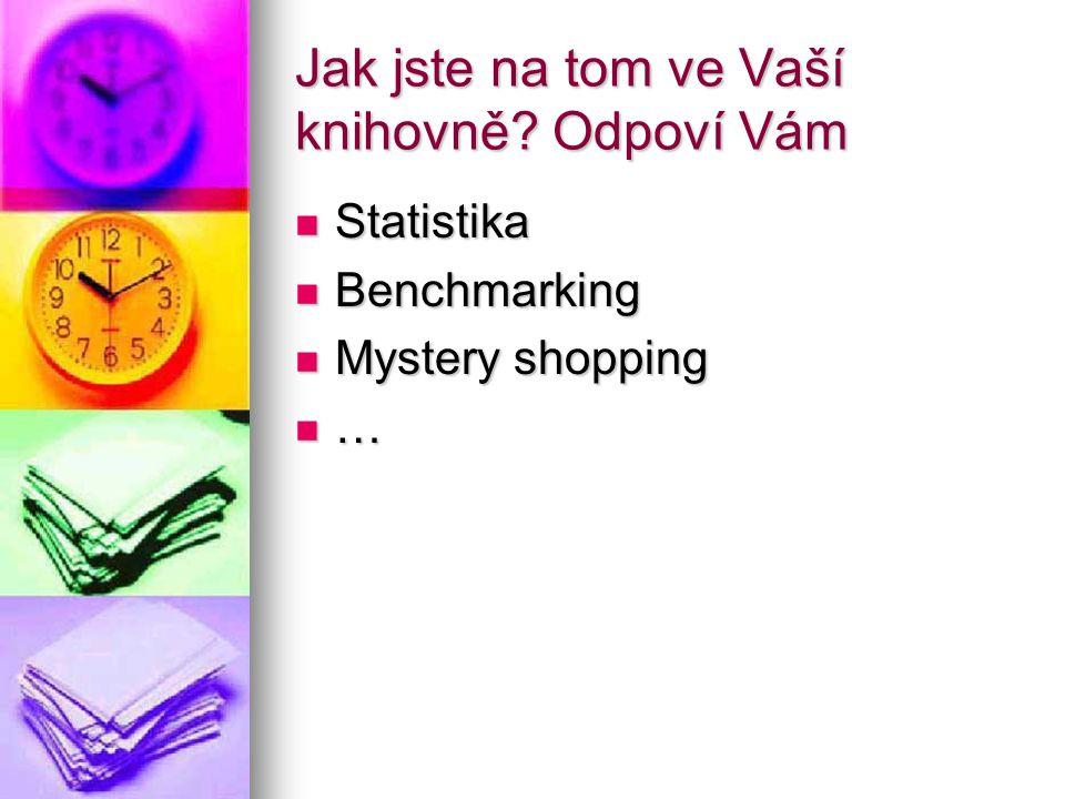Jak jste na tom ve Vaší knihovně? Odpoví Vám Statistika Statistika Benchmarking Benchmarking Mystery shopping Mystery shopping …