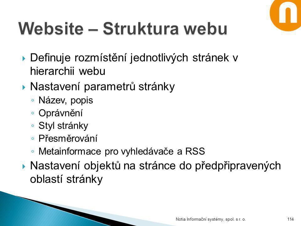  Definuje rozmístění jednotlivých stránek v hierarchii webu  Nastavení parametrů stránky ◦ Název, popis ◦ Oprávnění ◦ Styl stránky ◦ Přesměrování ◦