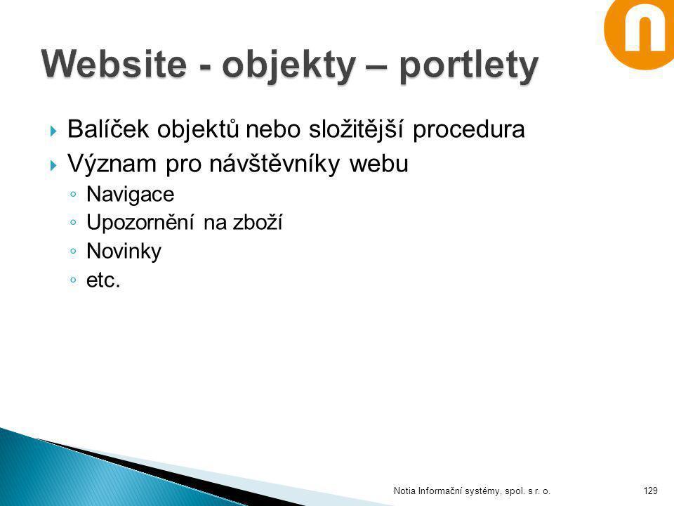  Balíček objektů nebo složitější procedura  Význam pro návštěvníky webu ◦ Navigace ◦ Upozornění na zboží ◦ Novinky ◦ etc. Notia Informační systémy,