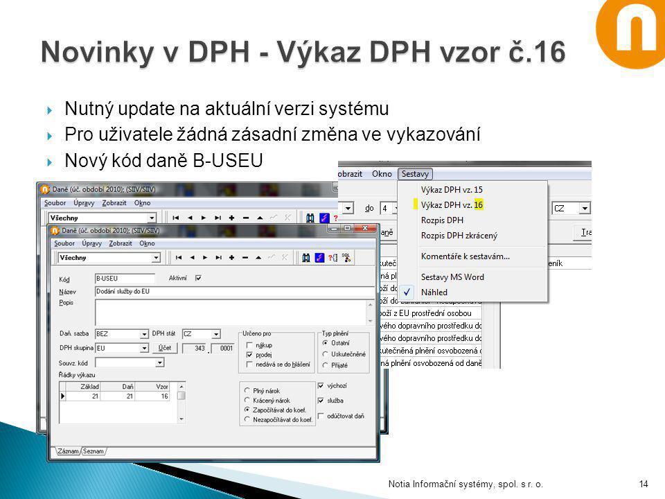  Nutný update na aktuální verzi systému  Pro uživatele žádná zásadní změna ve vykazování  Nový kód daně B-USEU Notia Informační systémy, spol. s r.
