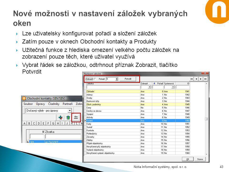  Lze uživatelsky konfigurovat pořadí a složení záložek  Zatím pouze v oknech Obchodní kontakty a Produkty  Užitečná funkce z hlediska omezení velké
