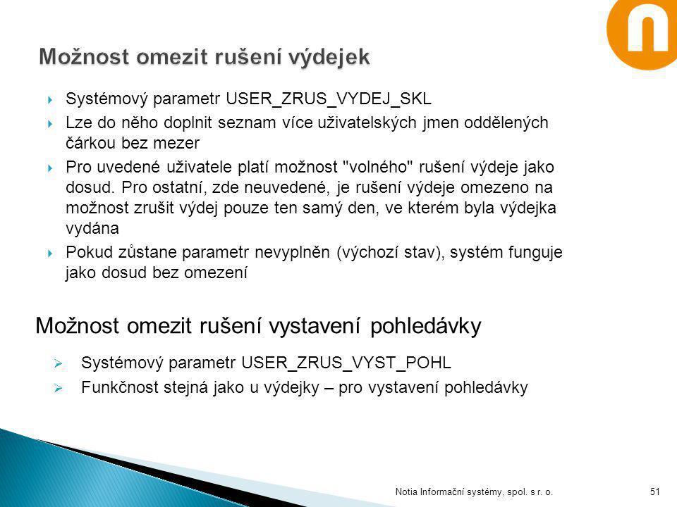  Systémový parametr USER_ZRUS_VYDEJ_SKL  Lze do něho doplnit seznam více uživatelských jmen oddělených čárkou bez mezer  Pro uvedené uživatele plat