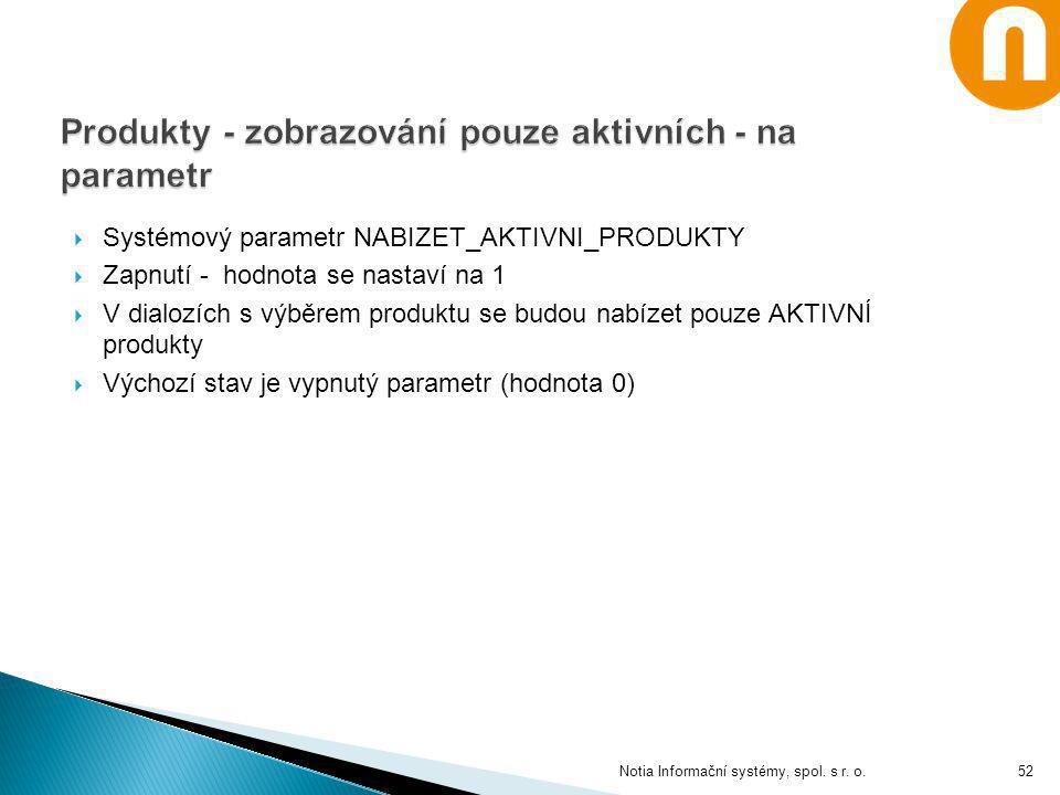  Systémový parametr NABIZET_AKTIVNI_PRODUKTY  Zapnutí - hodnota se nastaví na 1  V dialozích s výběrem produktu se budou nabízet pouze AKTIVNÍ prod