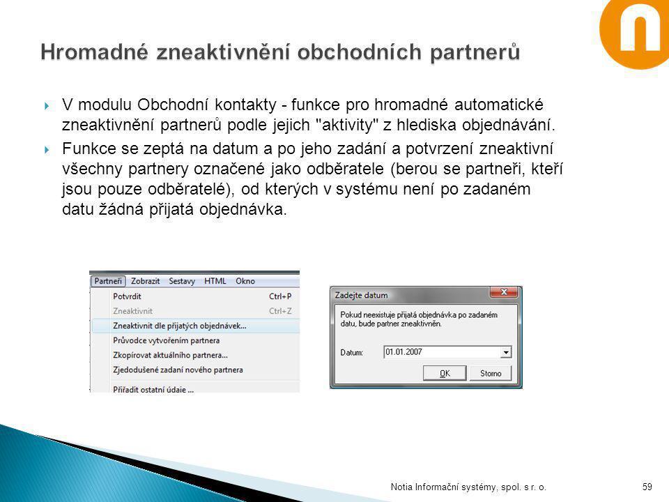  V modulu Obchodní kontakty - funkce pro hromadné automatické zneaktivnění partnerů podle jejich
