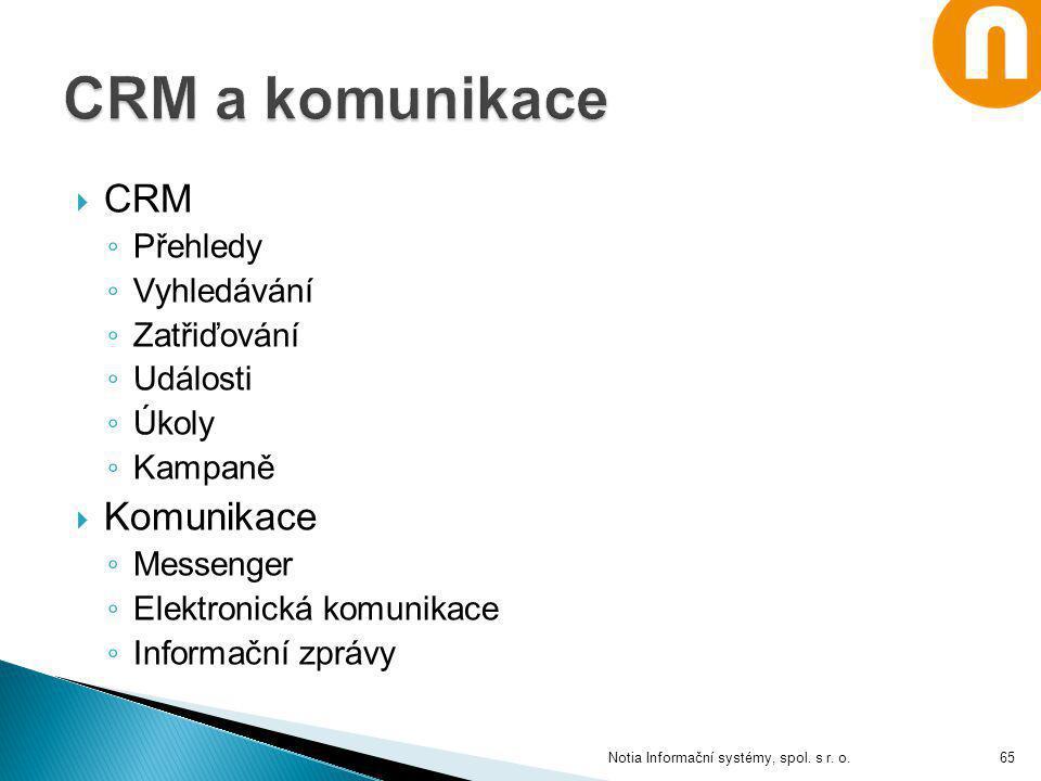  CRM ◦ Přehledy ◦ Vyhledávání ◦ Zatřiďování ◦ Události ◦ Úkoly ◦ Kampaně  Komunikace ◦ Messenger ◦ Elektronická komunikace ◦ Informační zprávy Notia
