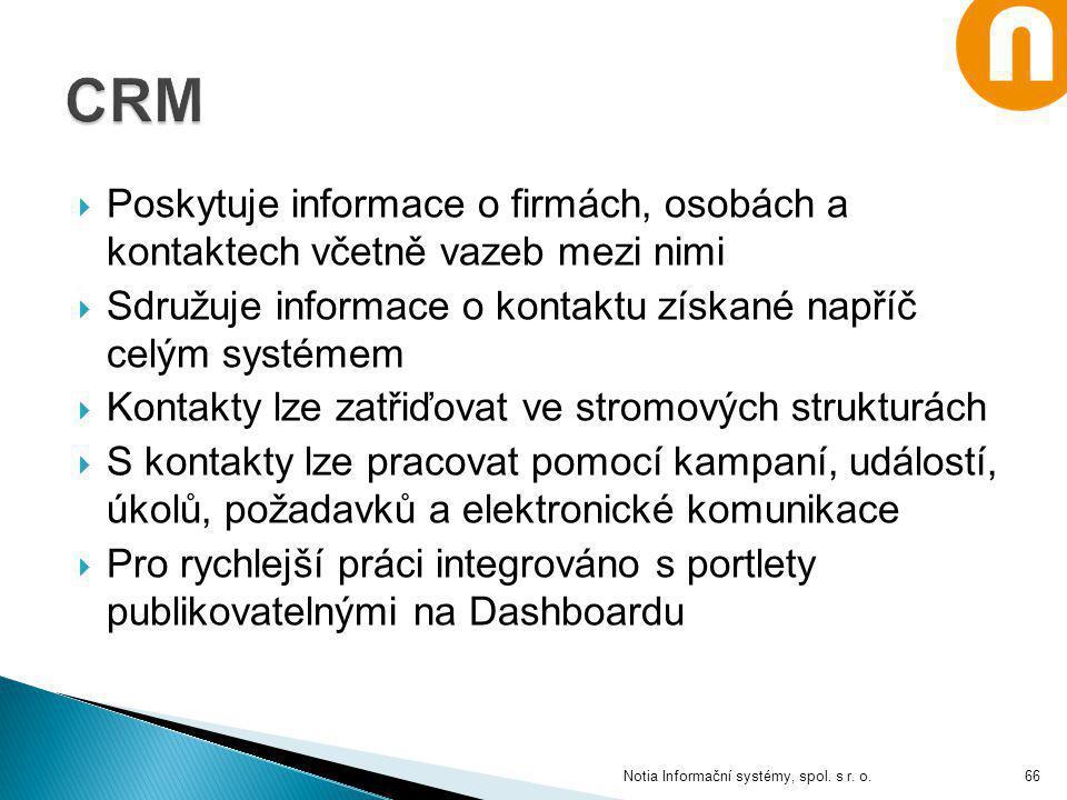  Poskytuje informace o firmách, osobách a kontaktech včetně vazeb mezi nimi  Sdružuje informace o kontaktu získané napříč celým systémem  Kontakty