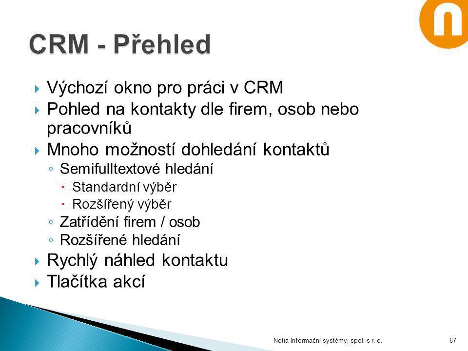 Notia Informační systémy, spol. s r. o.  Výchozí okno pro práci v CRM  Pohled na kontakty dle firem, osob nebo pracovníků  Mnoho možností dohledání