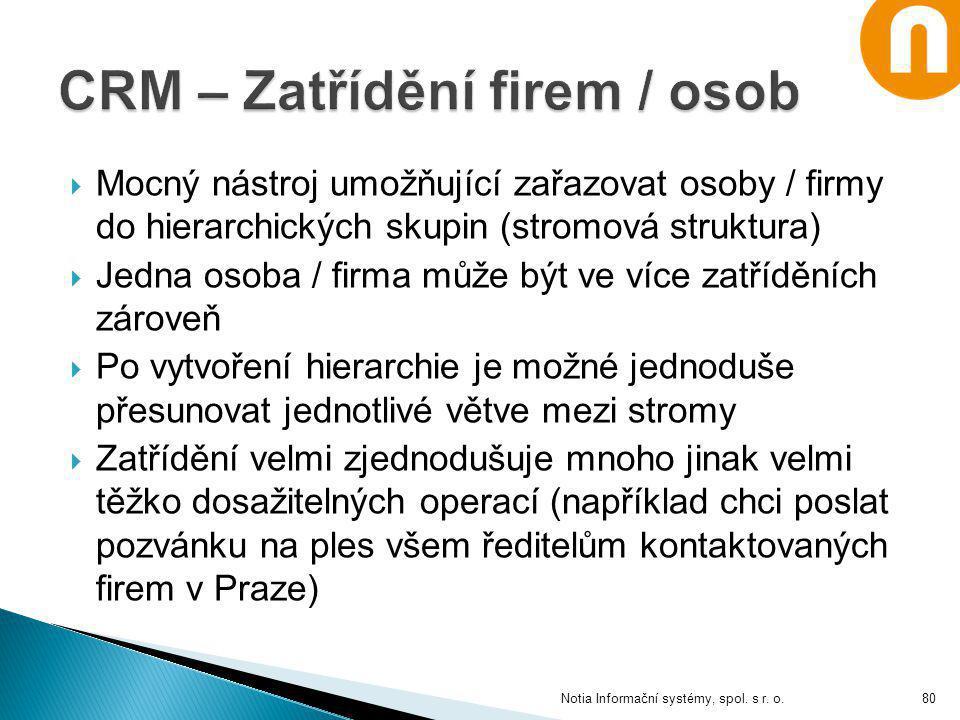 Notia Informační systémy, spol. s r. o.  Mocný nástroj umožňující zařazovat osoby / firmy do hierarchických skupin (stromová struktura)  Jedna osoba
