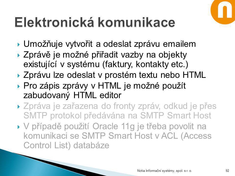  Umožňuje vytvořit a odeslat zprávu emailem  Zprávě je možné přiřadit vazby na objekty existující v systému (faktury, kontakty etc.)  Zprávu lze od