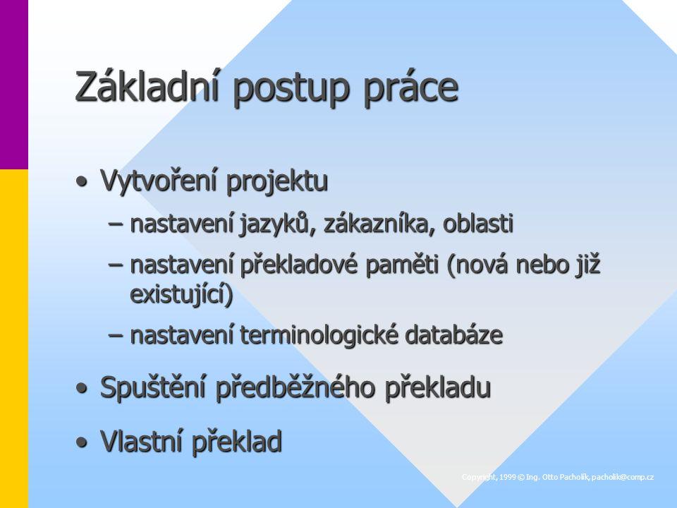 Základní postup práce Vytvoření projektuVytvoření projektu –nastavení jazyků, zákazníka, oblasti –nastavení překladové paměti (nová nebo již existující) –nastavení terminologické databáze Spuštění předběžného překladuSpuštění předběžného překladu Vlastní překladVlastní překlad Copyright, 1999 © Ing.