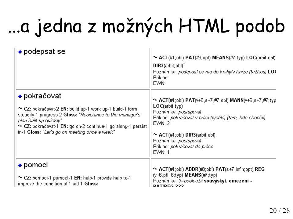 20 / 28...a jedna z možných HTML podob