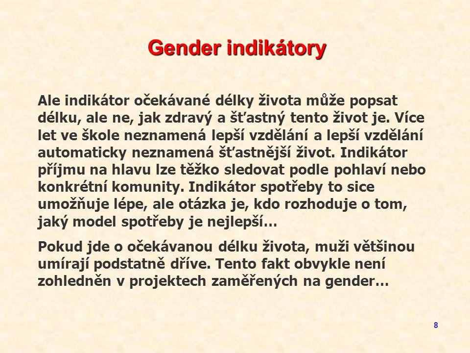 99 Shrnutí Komplexnost problematiky gender zahrnuje řadu propojených aspektů a týká se mnoha aktérů: l Mateřská úmrtnost určitě potřebuje efektivní intervence, ať už jde o zdravotní služby nebo osvětu.