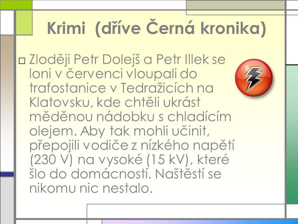 Krimi (dříve Černá kronika) □Z□Zloději Petr Dolejš a Petr Illek se loni v červenci vloupali do trafostanice v Tedražicích na Klatovsku, kde chtěli ukr