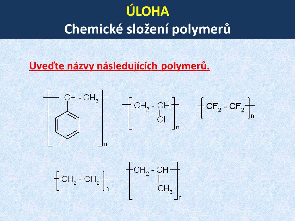 ÚLOHA Chemické složení polymerů Uveďte názvy následujících polymerů.