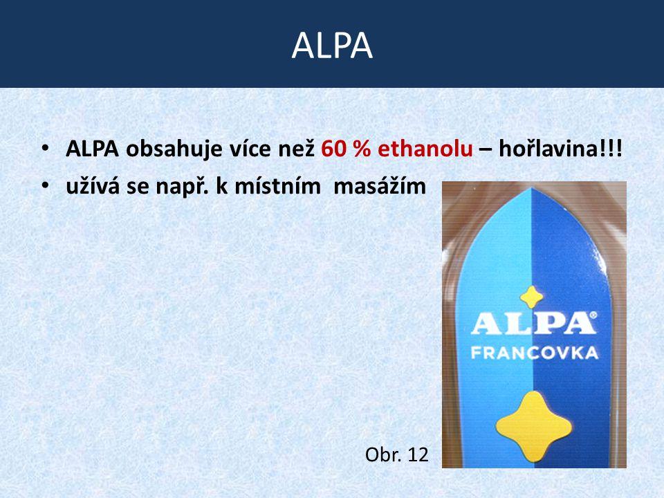 ALPA ALPA obsahuje více než 60 % ethanolu – hořlavina!!! užívá se např. k místním masážím Obr. 12
