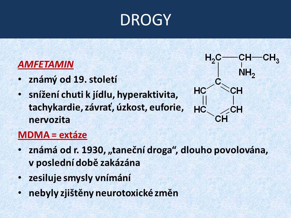 DROGY AMFETAMIN známý od 19. století snížení chuti k jídlu, hyperaktivita, tachykardie, závrať, úzkost, euforie, nervozita MDMA = extáze známá od r. 1
