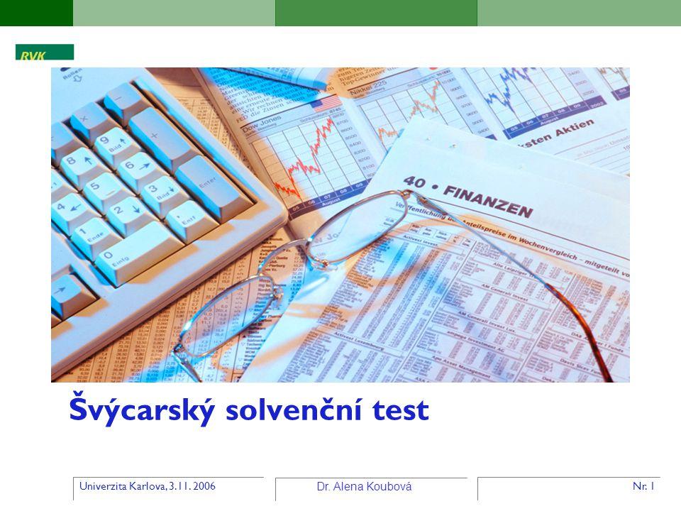 Univerzita Karlova, 3.11. 2006 Dr. Alena Koubová Nr. 1 Švýcarský solvenční test