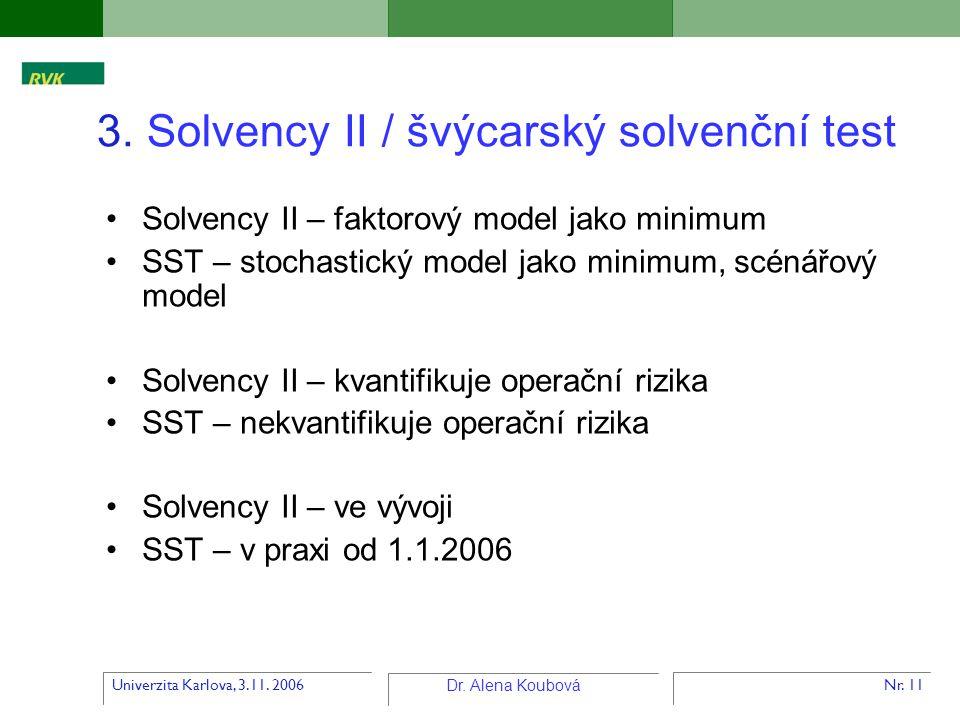Univerzita Karlova, 3.11. 2006 Dr. Alena Koubová Nr. 11 3. Solvency II / švýcarský solvenční test Solvency II – faktorový model jako minimum SST – sto