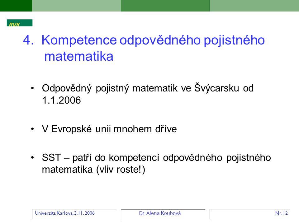 Univerzita Karlova, 3.11. 2006 Dr. Alena Koubová Nr. 12 4. Kompetence odpovědného pojistného matematika Odpovědný pojistný matematik ve Švýcarsku od 1