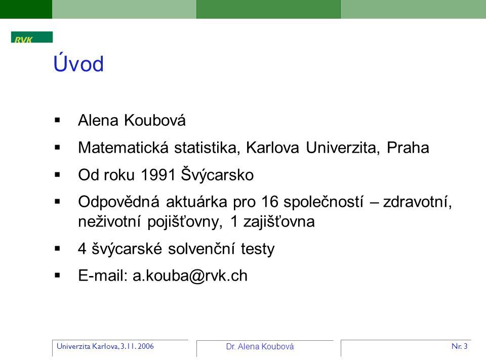 Univerzita Karlova, 3.11. 2006 Dr. Alena Koubová Nr. 3  Alena Koubová  Matematická statistika, Karlova Univerzita, Praha  Od roku 1991 Švýcarsko 