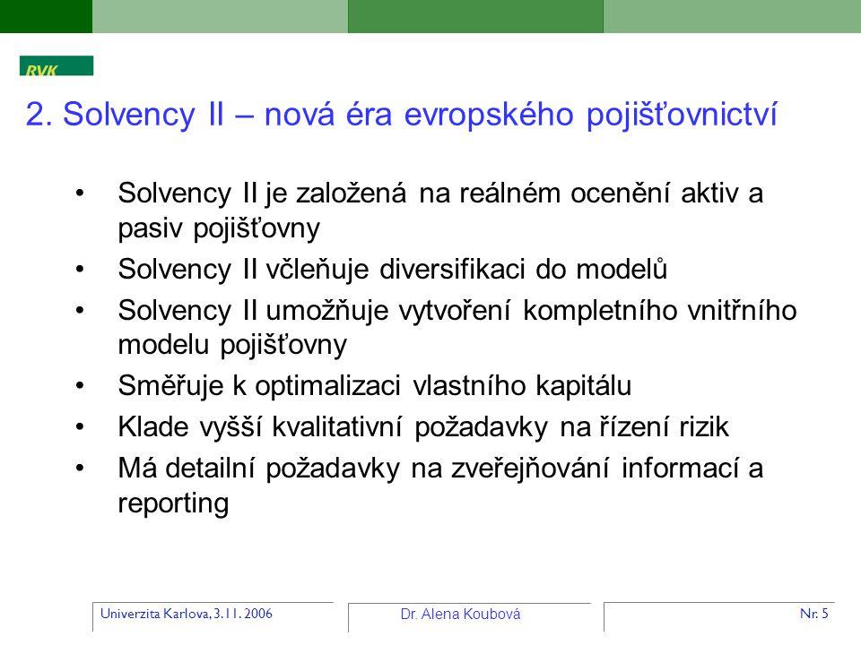 Univerzita Karlova, 3.11. 2006 Dr. Alena Koubová Nr. 5 Solvency II je založená na reálném ocenění aktiv a pasiv pojišťovny Solvency II včleňuje divers