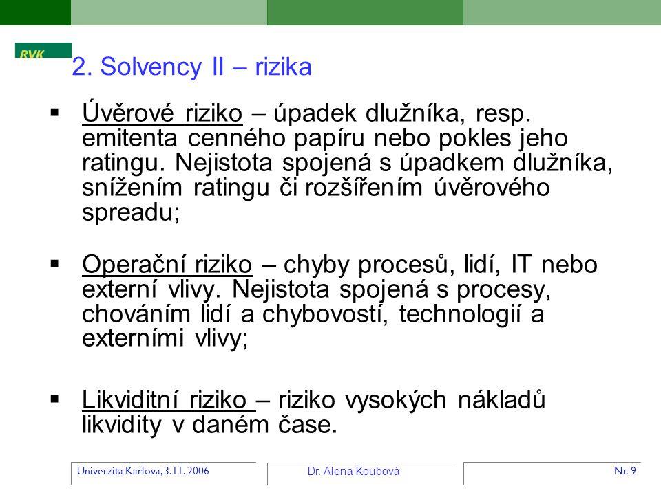 Univerzita Karlova, 3.11. 2006 Dr. Alena Koubová Nr. 9  Úvěrové riziko – úpadek dlužníka, resp. emitenta cenného papíru nebo pokles jeho ratingu. Nej
