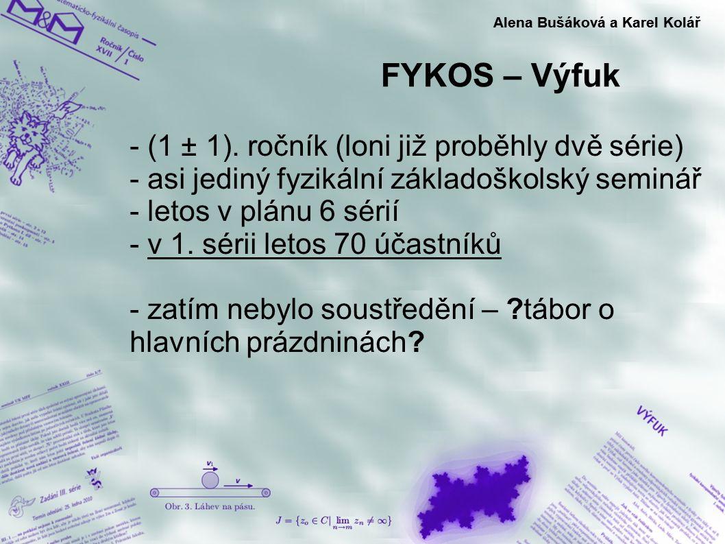 FYKOS – Výfuk Alena Bušáková a Karel Kolář - (1 ± 1). ročník (loni již proběhly dvě série) - asi jediný fyzikální základoškolský seminář - letos v plá