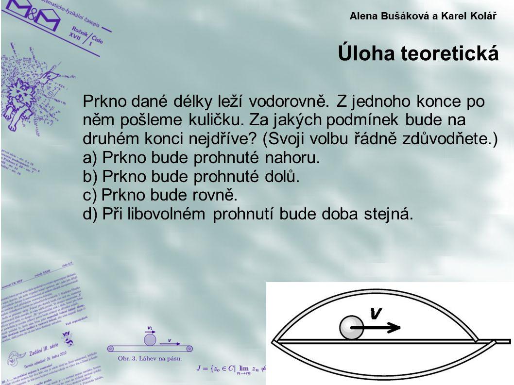 Úloha teoretická Alena Bušáková a Karel Kolář Prkno dané délky leží vodorovně. Z jednoho konce po něm pošleme kuličku. Za jakých podmínek bude na druh