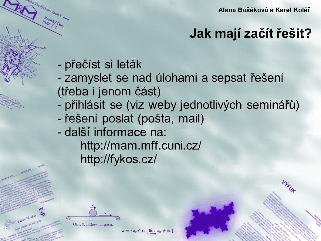 Jak mají začít řešit? Alena Bušáková a Karel Kolář - přečíst si leták - zamyslet se nad úlohami a sepsat řešení (třeba i jenom část) - přihlásit se (v