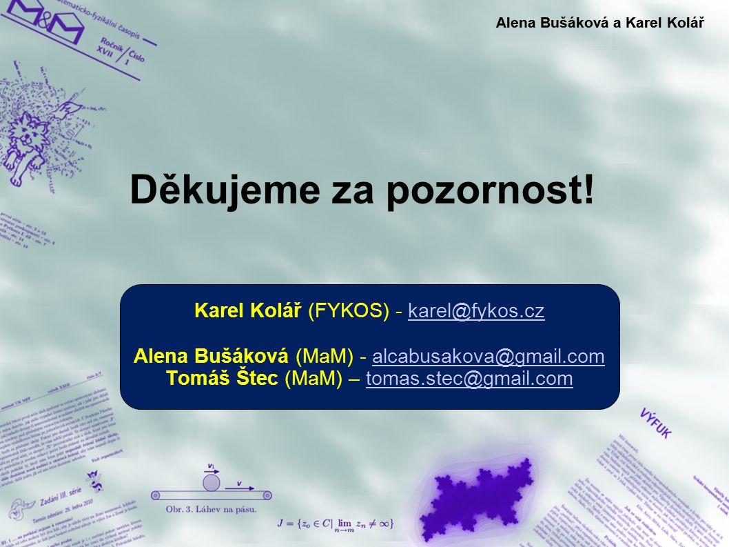 Děkujeme za pozornost! Alena Bušáková a Karel Kolář Karel Kolář (FYKOS) - karel@fykos.czkarel@fykos.cz Alena Bušáková (MaM) - alcabusakova@gmail.comal