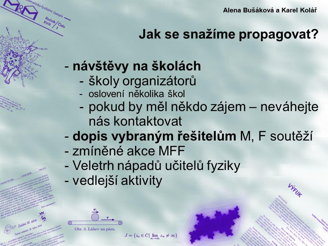 Jak se snažíme propagovat? Alena Bušáková a Karel Kolář - návštěvy na školách -školy organizátorů -oslovení několika škol -pokud by měl někdo zájem –