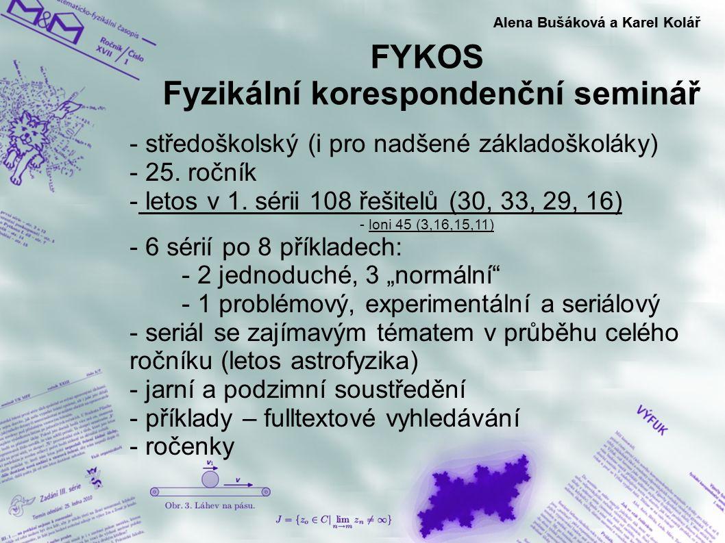 FYKOS Fyzikální korespondenční seminář Alena Bušáková a Karel Kolář - středoškolský (i pro nadšené základoškoláky) - 25. ročník - letos v 1. sérii 108