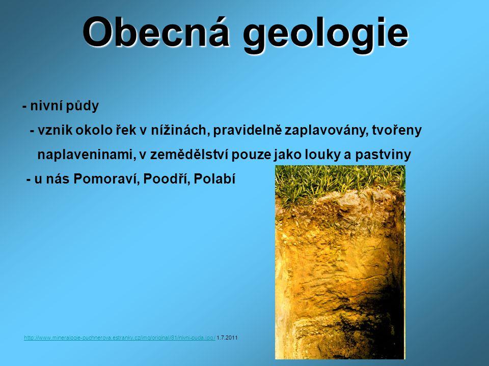 Obecná geologie - nivní půdy - vznik okolo řek v nížinách, pravidelně zaplavovány, tvořeny naplaveninami, v zemědělství pouze jako louky a pastviny - u nás Pomoraví, Poodří, Polabí http://www.mineralogie-puchnerova.estranky.cz/img/original/81/nivni-puda.jpg /http://www.mineralogie-puchnerova.estranky.cz/img/original/81/nivni-puda.jpg / 1.7.2011