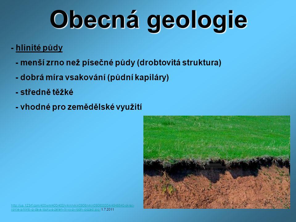 Obecná geologie - hlinité půdy - menší zrno než písečné půdy (drobtovitá struktura) - dobrá míra vsakování (půdní kapiláry) - středně těžké - vhodné pro zemědělské využití http://us.123rf.com/400wm/400/400/vikiri/vikiri0906/vikiri090600004/4945640-okraji- rokle-s-hlinit--p-da-a-louku-s-zelen--tr-vy-p--rodn--pozad.jpg /http://us.123rf.com/400wm/400/400/vikiri/vikiri0906/vikiri090600004/4945640-okraji- rokle-s-hlinit--p-da-a-louku-s-zelen--tr-vy-p--rodn--pozad.jpg / 1.7.2011