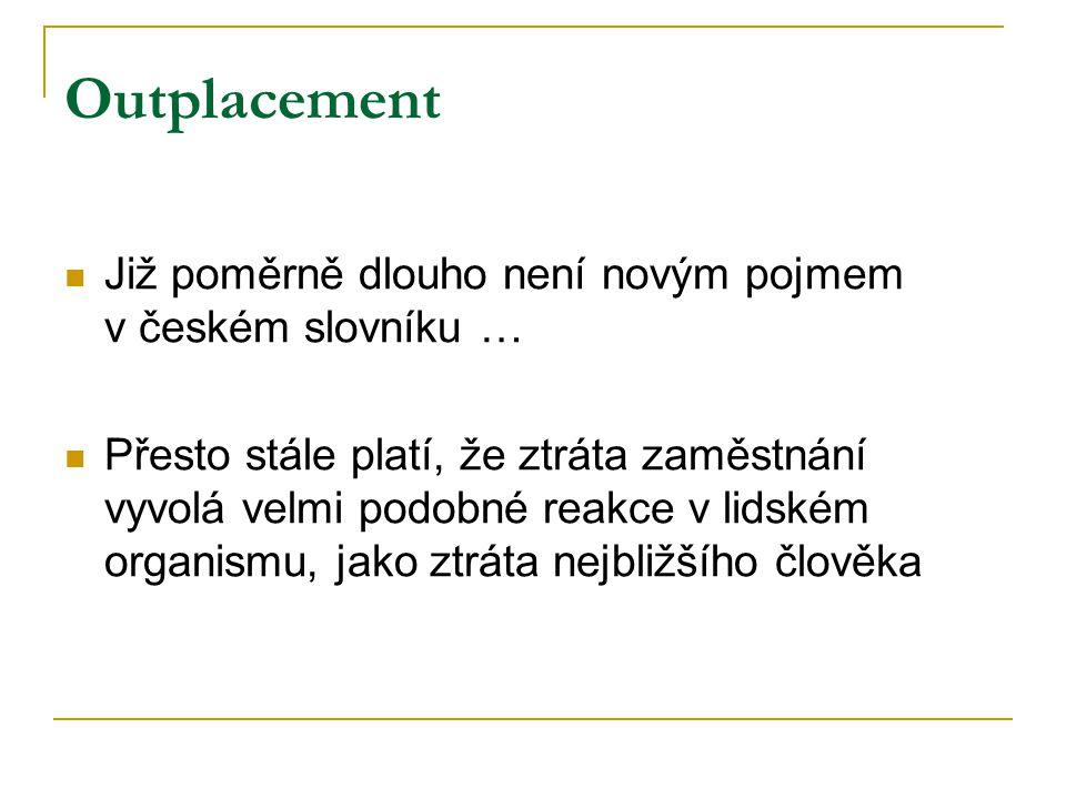 Outplacement Již poměrně dlouho není novým pojmem v českém slovníku … Přesto stále platí, že ztráta zaměstnání vyvolá velmi podobné reakce v lidském organismu, jako ztráta nejbližšího člověka