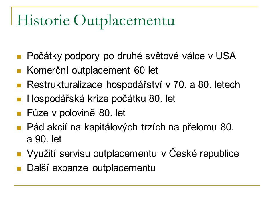 Historie Outplacementu Počátky podpory po druhé světové válce v USA Komerční outplacement 60 let Restrukturalizace hospodářství v 70.