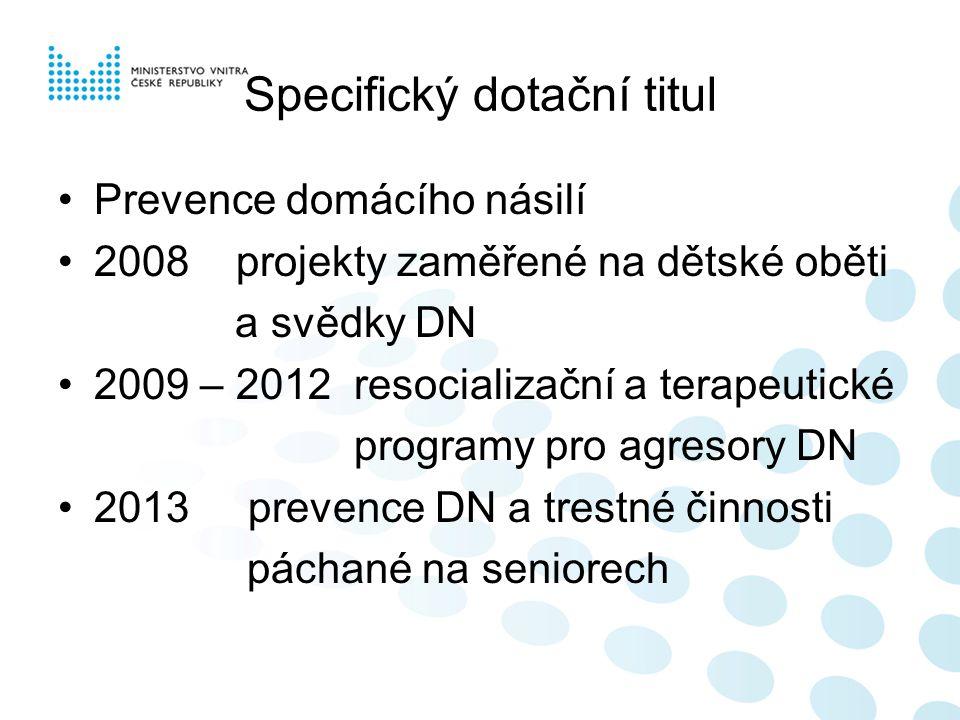 Specifický dotační titul Prevence domácího násilí 2008 projekty zaměřené na dětské oběti a svědky DN 2009 – 2012 resocializační a terapeutické program