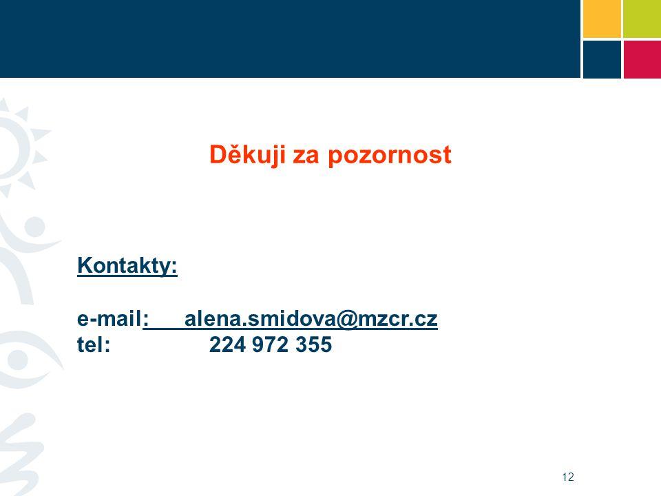 12 Kontakty: e-mail: alena.smidova@mzcr.czalena.smidova@mzcr.cz tel: 224 972 355 Děkuji za pozornost