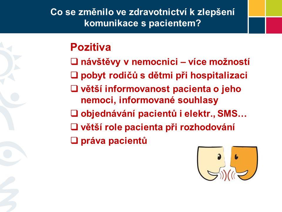 Co se změnilo ve zdravotnictví k zlepšení komunikace s pacientem.